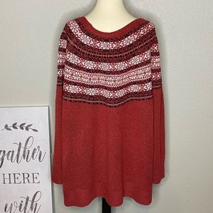 Sweaters - Fair Isle Boat Neck Sweater NWT Sz 3X